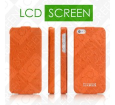 Чехол iCarer для iPhone 5/5S Fake Ostrich Orange (flip) (RIP509)