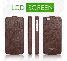 Чехол iCarer для iPhone 5/5S Fake Crocodile Brown (flip) (RIP509)
