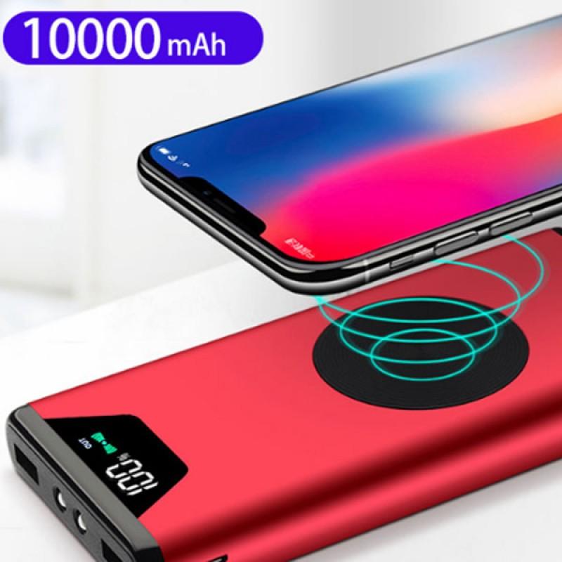 Внешний аккумулятор 10000mAh с беспроводной зарядкой, PowerBank, красный