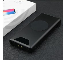 Внешний аккумулятор 10000mAh с беспроводной зарядкой, PowerBank, черный