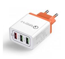 Зарядное устройство Qualcomm Quick Charge 3.0 4.8A 3 USB порта, оранжевый