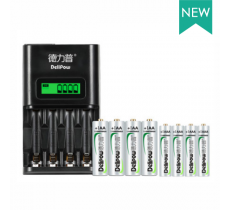 Зарядное устройство Delipow DLP-409 для аккумуляторов АА/ААА 4 слота + 4 аккумулятора AA 3000 mAh и 4 аккумулятора AAA 1100 mAh
