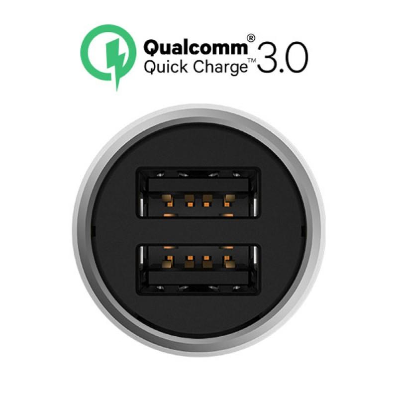 Автомобильное зарядное устройство Xiaomi Car Quick Charger 3.0, серебристый