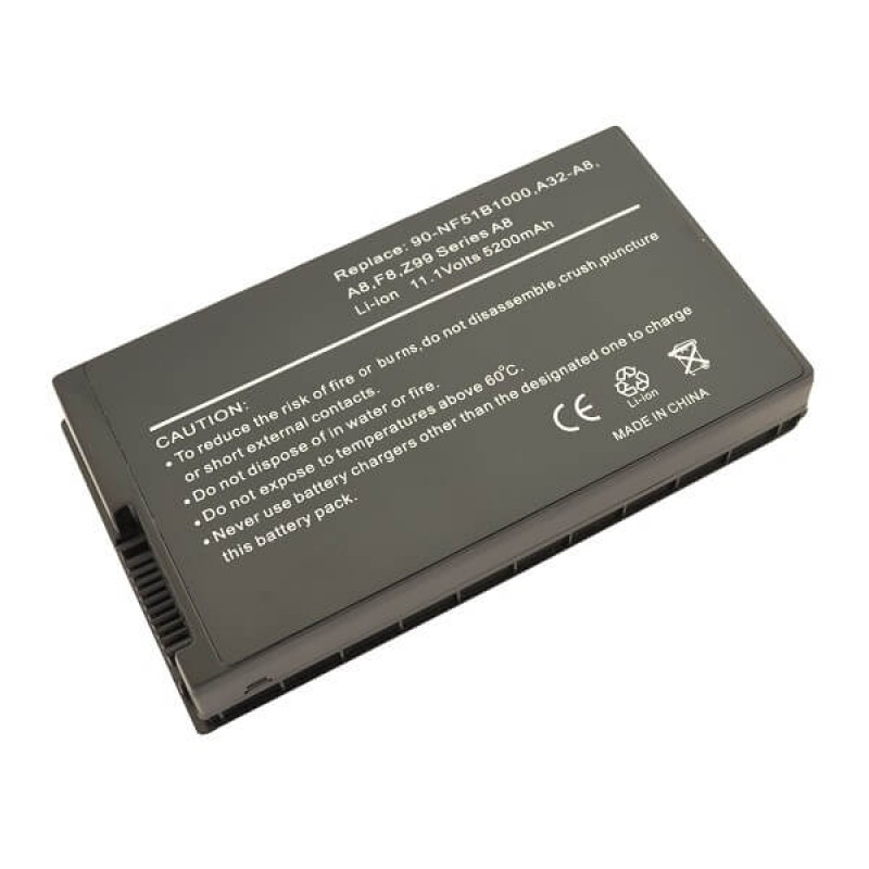 Батарея Asus A8, F8, Z99 Series, 11,1 V 5200 mAh, A32-A8, черный, аккумулятор для ноутбука