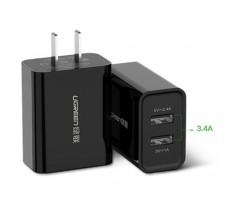 Зарядное устройство Ugreen 5V 3.4A 2 USB порта 2.4A + 1A, черный