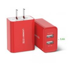 Зарядное устройство Ugreen 5V 3.4A 2 USB порта 2.4A + 1A, красный
