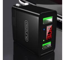 Зарядное устройство ASZUNE 2 USB порта 3.0A, умный дисплей, черный